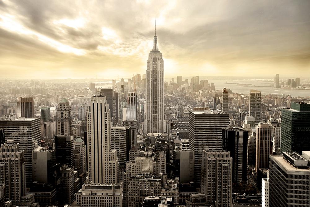 Skyline New York op glas 80x120