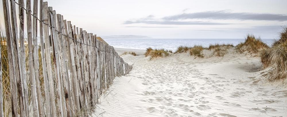 Fotokunst strand en duinen op glas 50x125