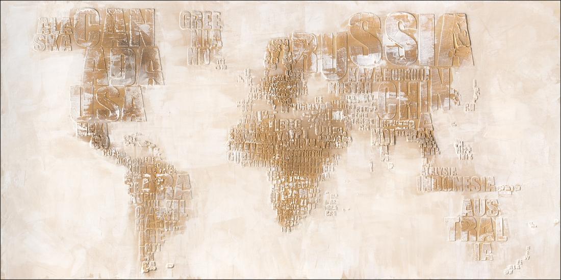 schilderij wereld kaart 90x180