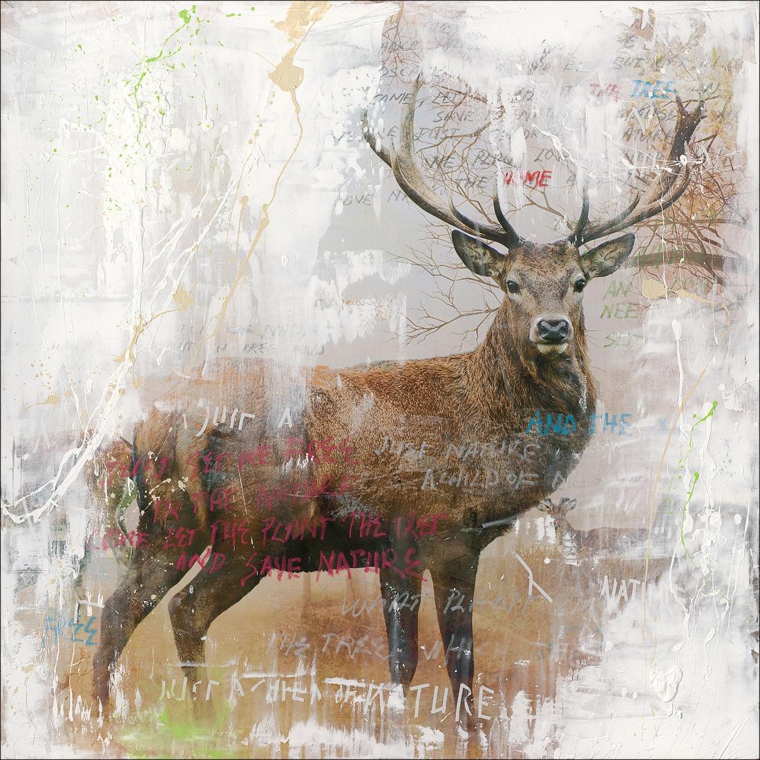 schilderij Hert 100x100