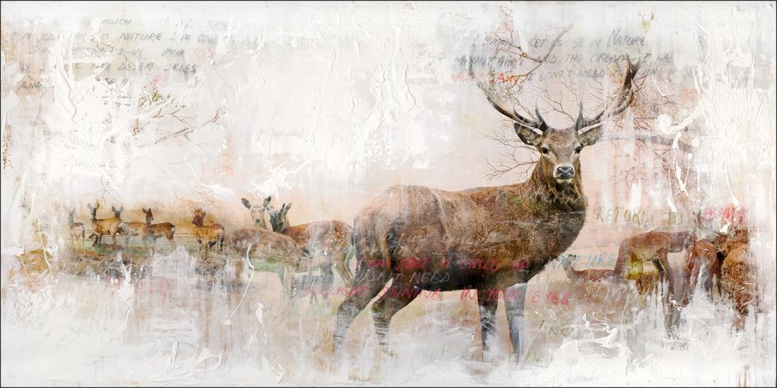 Schilderij hert 90x180