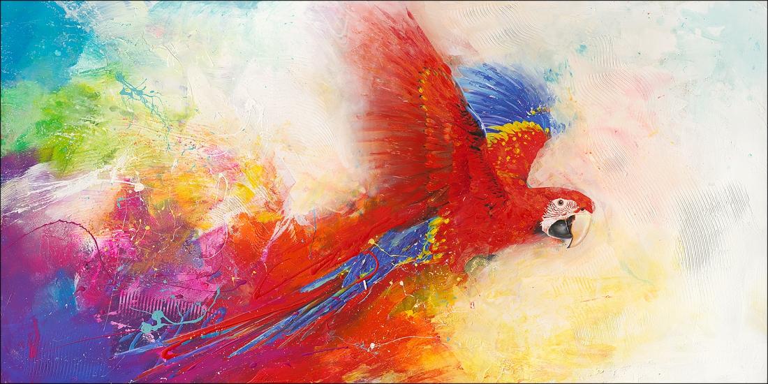 Schilderij papegaai 90x180