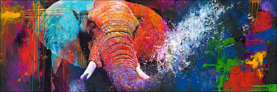 modern kleurrijk schilderij olifant 60x180
