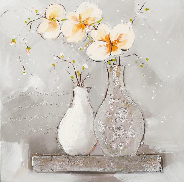 ilxe1007- schilderij vaas bloemen 60x60