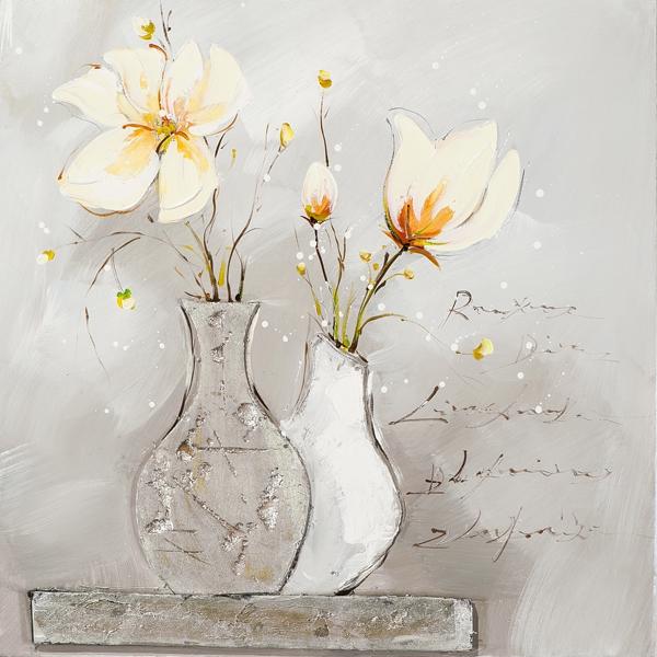 ilxe1008- schilderij vaas bloemen 60x60