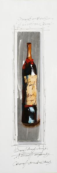 schilderij Wijnfles 40x120