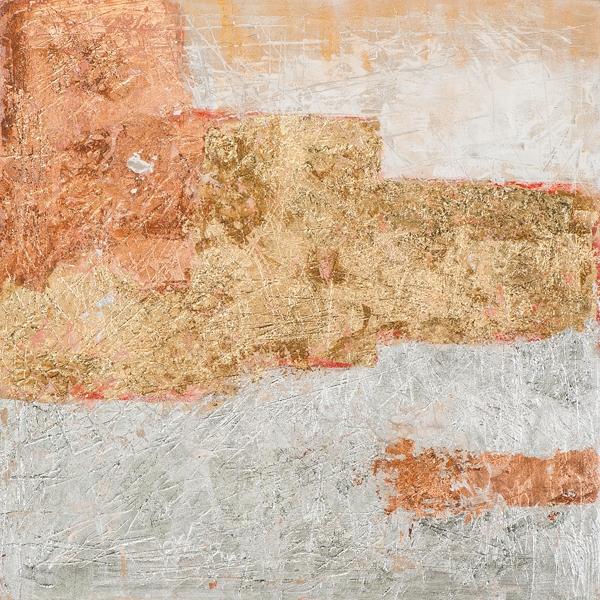 Schilderij modern goud zilver 70x70