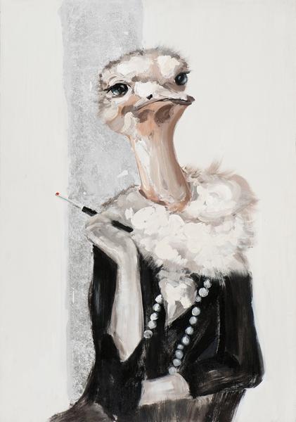 Schilderij 70x100 struisvogel