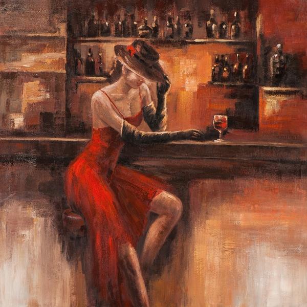 schilderij vrouw aan bar 100x100