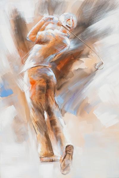 Golfer schilderij 80x120