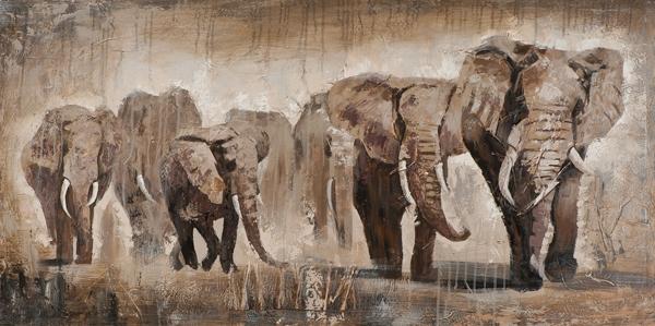Schilderij olifanten 70x140 ilxe1128 schilderijenshop for Schilderij olifant