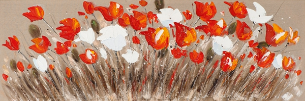 Schilderij bloemen 50x150 NIEUW!