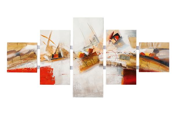 5 luik schilderij abstract 80x162