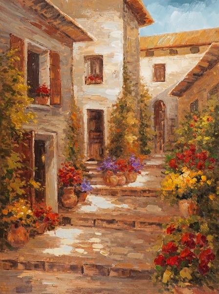 Schilderij dorpje toscane 90x120