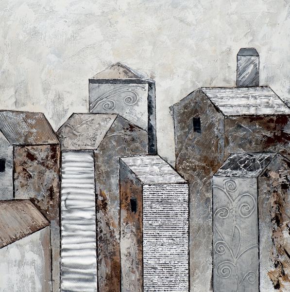 Schilderij 100x100 zilver huisjes