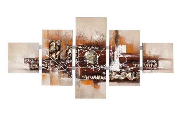 5 luik schilderij abstract met metaal 80x162