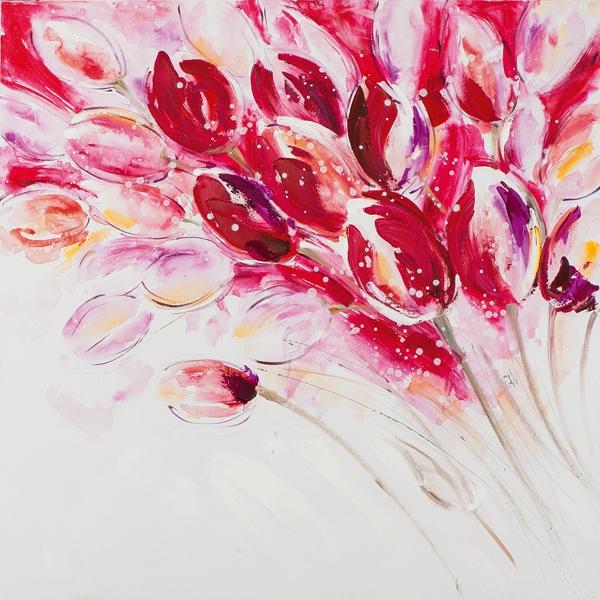 schilderij tulpen roze rood 60x60