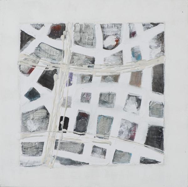 schilderij modern zilver 40x40