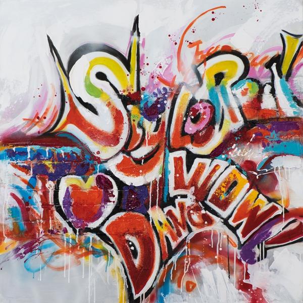 schilderij modern graffiti 100x100