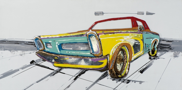 schilderij 70x140 auto metaal