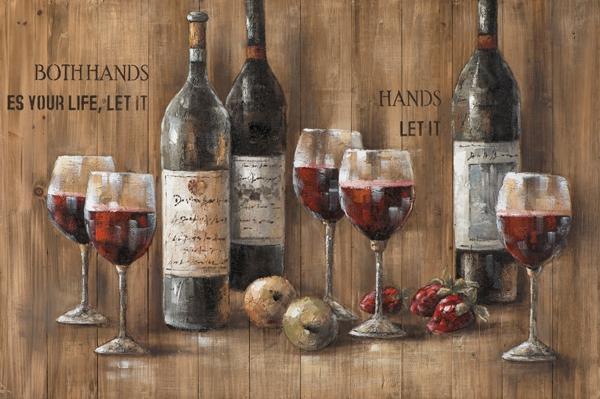 schilderij wijnflessen op steigerhout  80x120