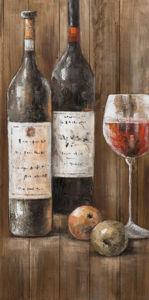 schilderij wijnflessen op steigerhout 50x100