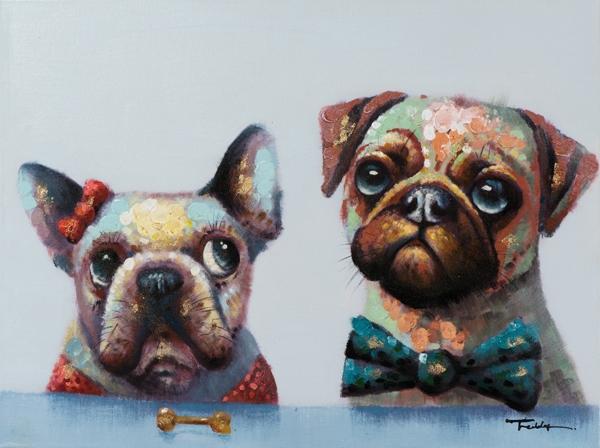 Schilderij hondjes 60x80