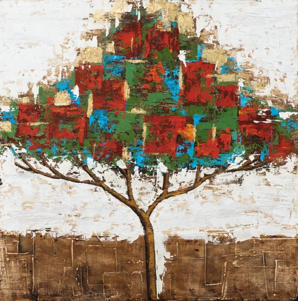 schilderij boom kleurrijk 115x115