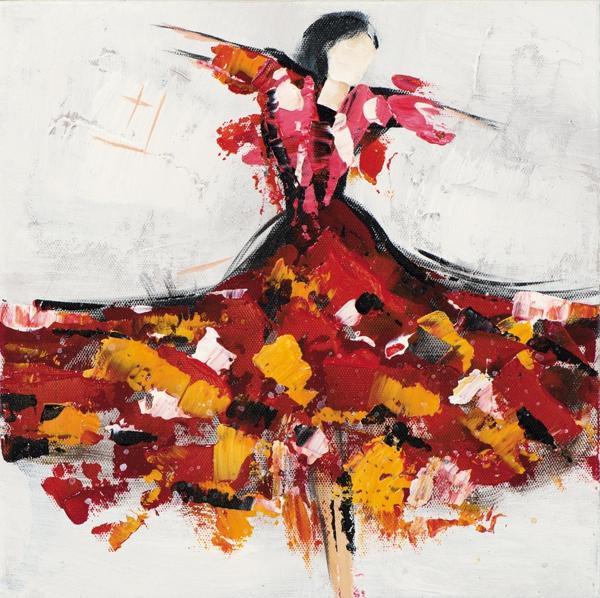 schilderij danseres 25x25