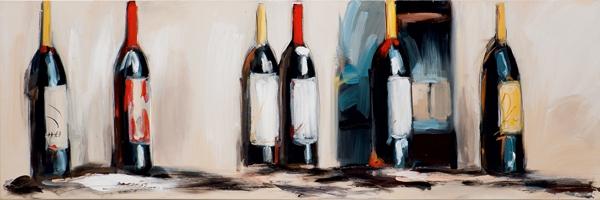 schilderij 40x120 wijnflessen