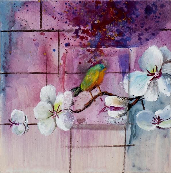 schilderij vogel 25x25