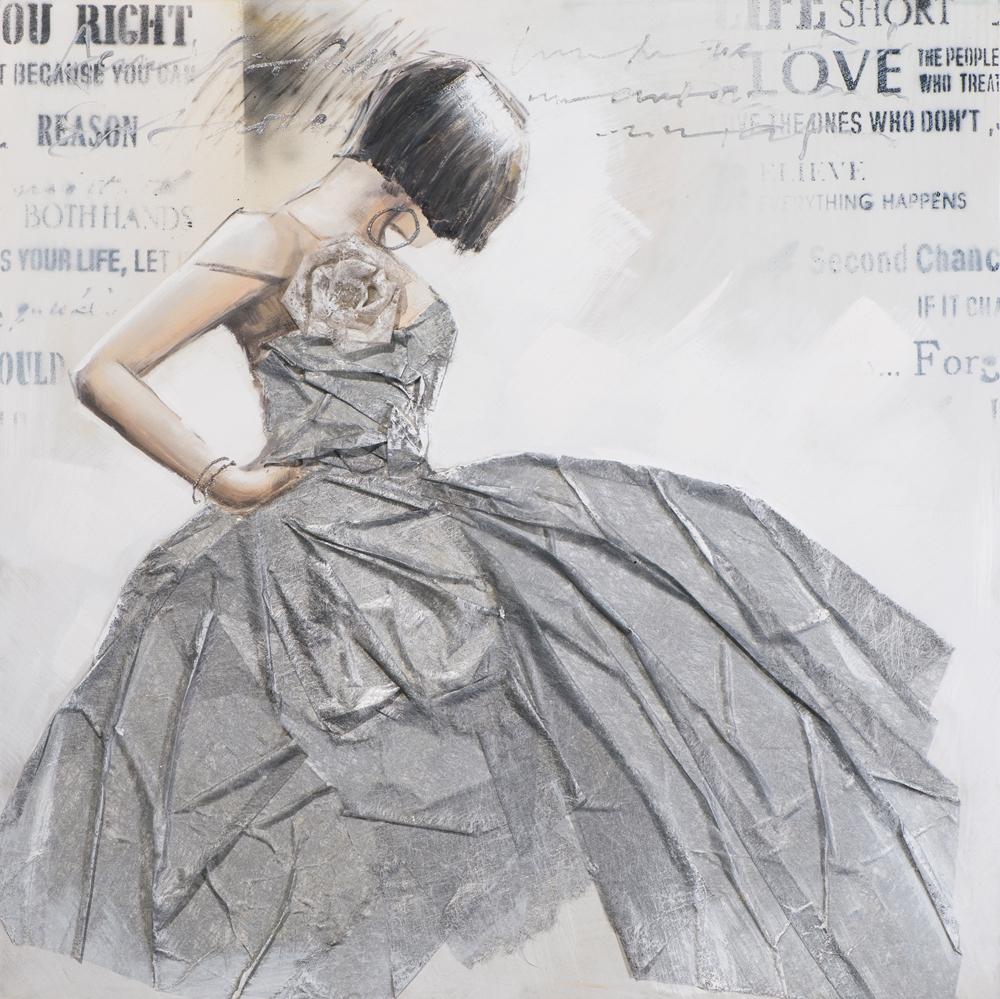 Schilderij vrouw danseres 100x100