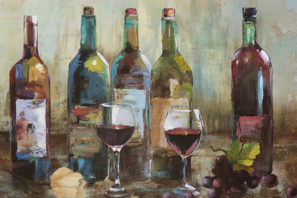 Schilderij wijnflessen 60x90