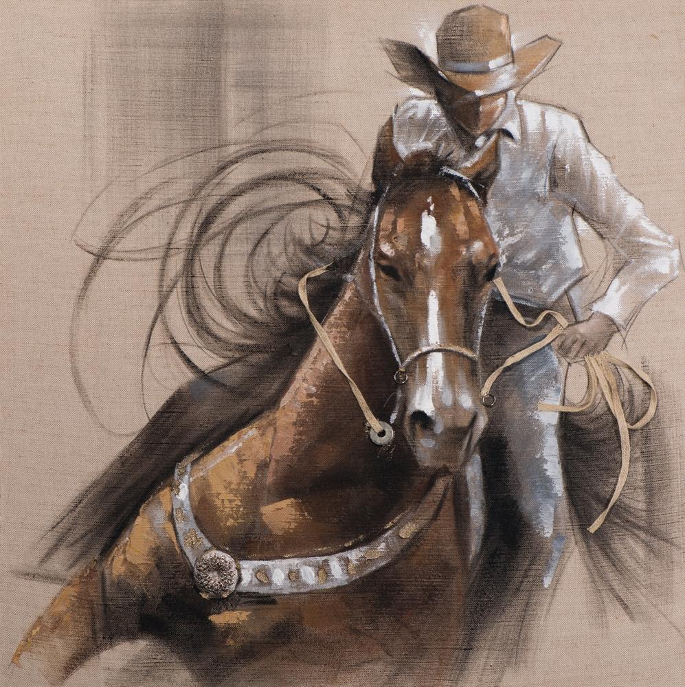 schilderij Cowboy 100x100