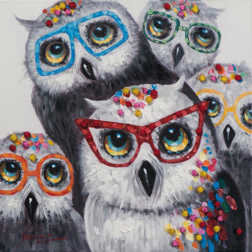 Schilderij uilen met bril 60x60