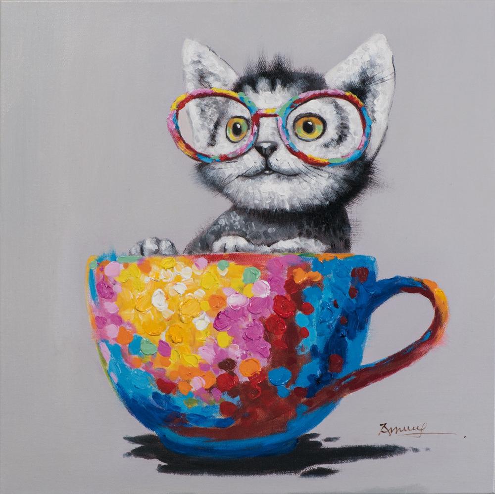 Schilderij poesje met bril 60x60
