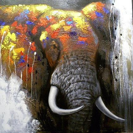Schilderij olifant 110x110