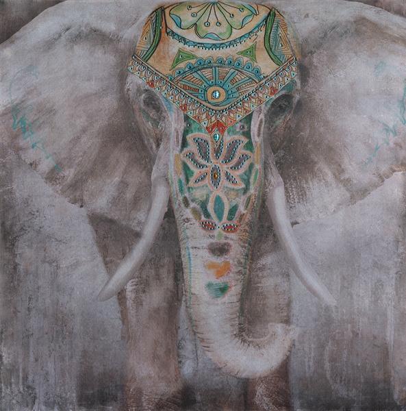 schilderij olifant 90x90