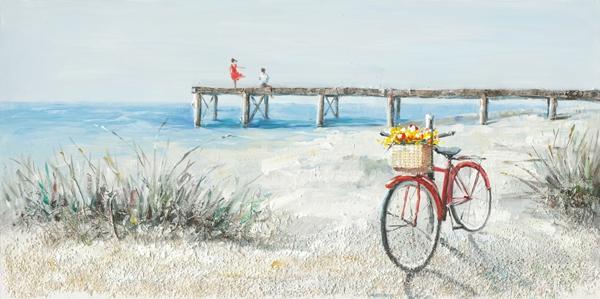Schilderij strand met fiets 70x140