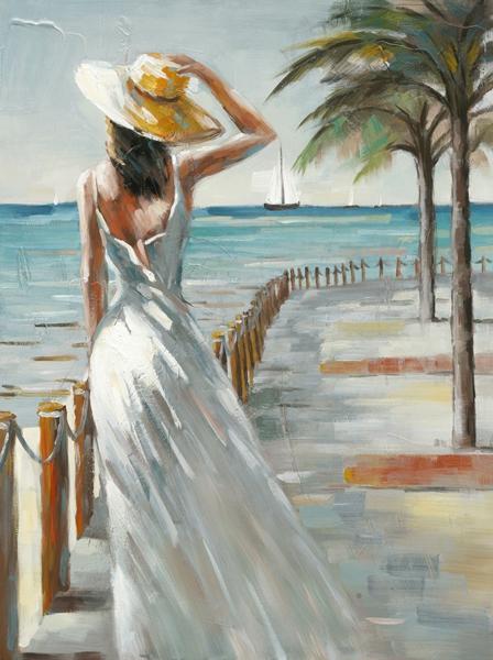 Schilderij vrouw op boulevard 90x120