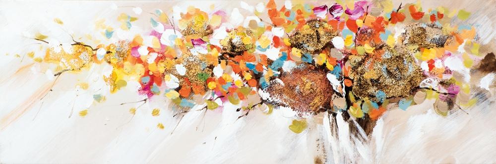 schilderij bloemen 30x90