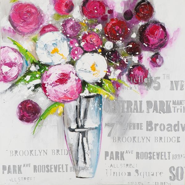 Schilderij vaas met bloemen 70x70