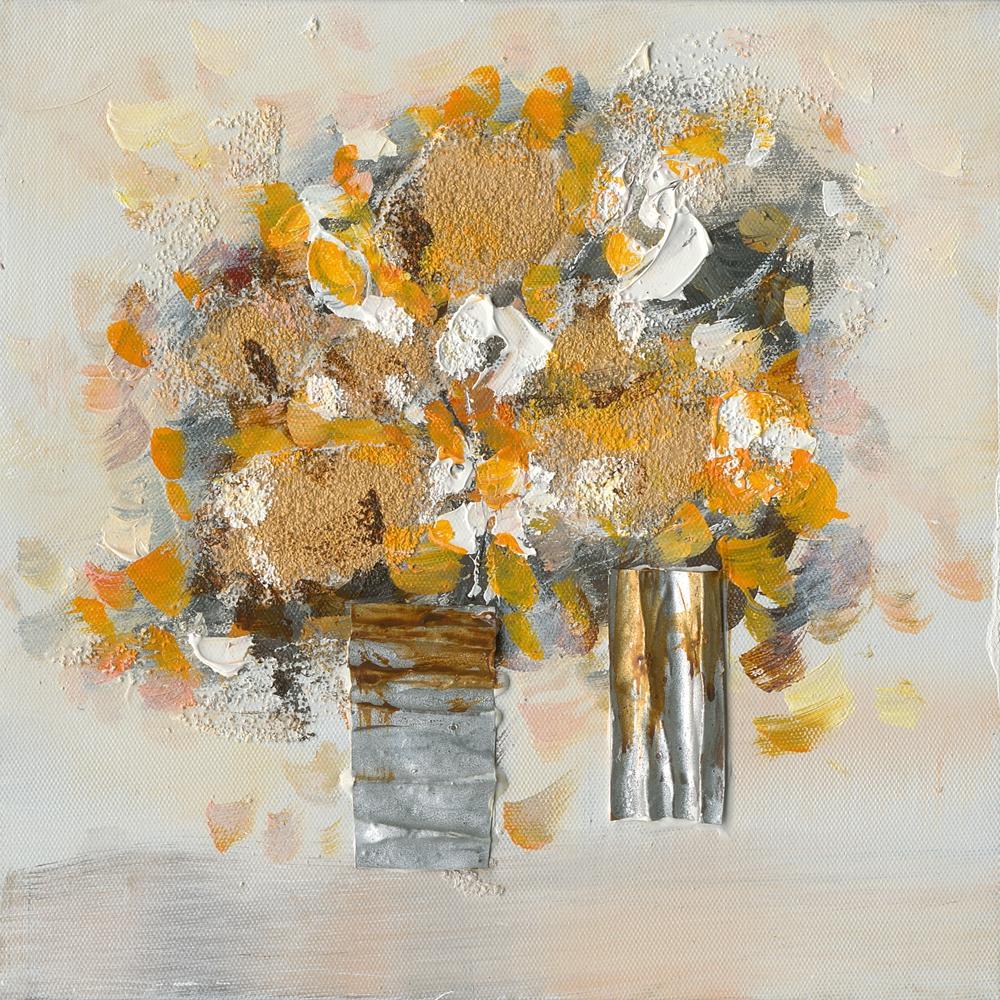 schilderij bloemen in vaas 25x25