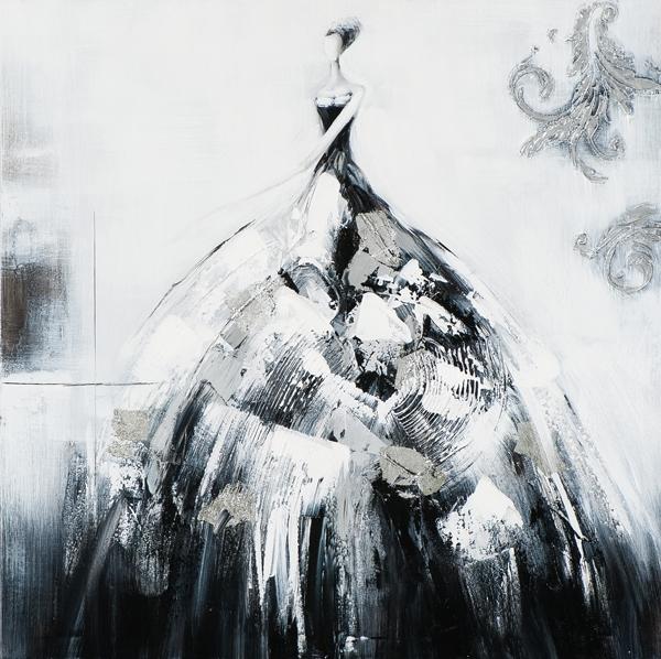 schilderij figuratief zwart wit 75x75