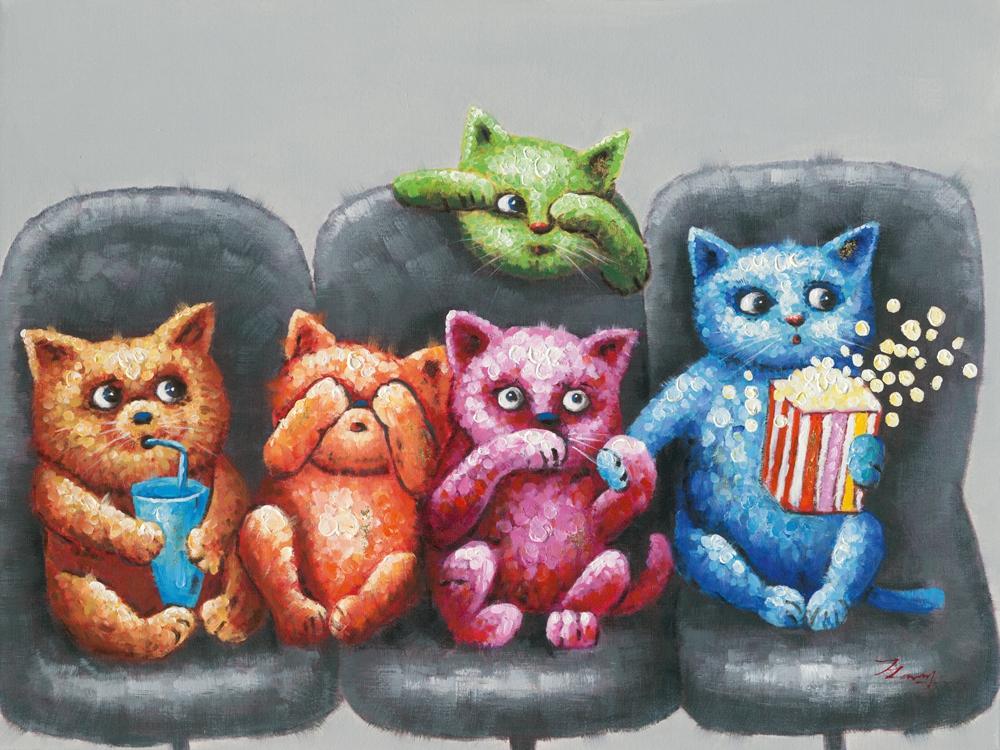 Schilderij katten op bank 90x120