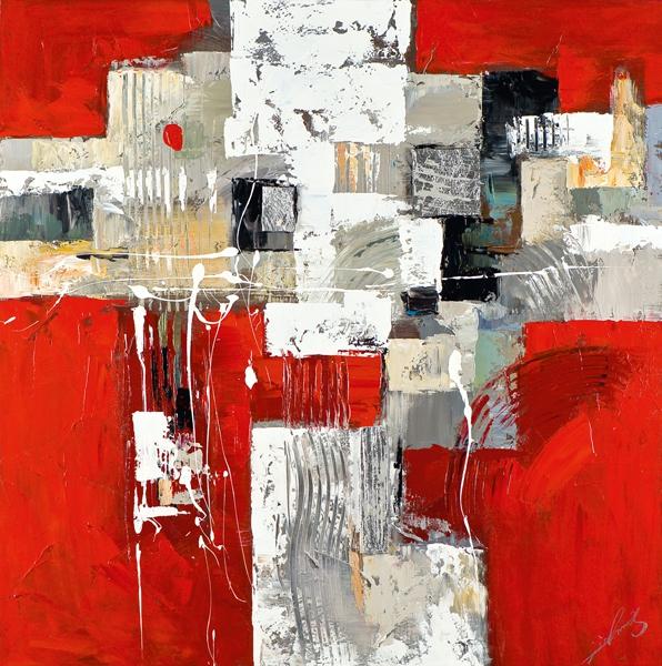 schilderij abstract rood 60x60