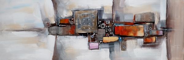 schilderij modern rood 50x150