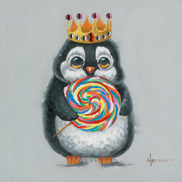 Schilderij pinguin 50x50