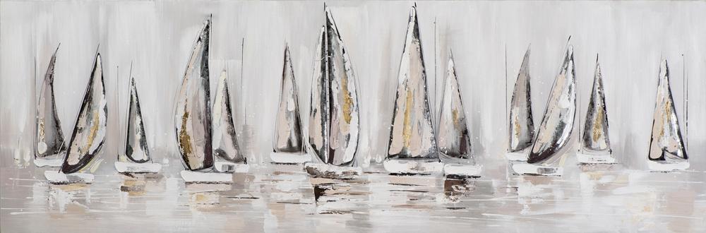 schilderij zeilboten 50x150