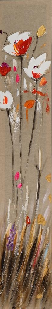 Schilderij bloemen 25x150